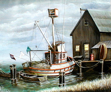 Boat fishing paintings for Fishing boat painting
